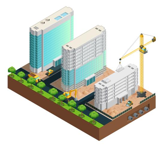 Composição isométrica de construção