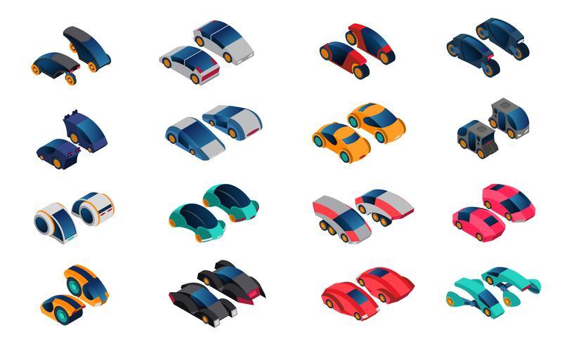 Conjunto de ícones isométrica de carros futurista