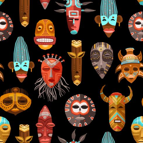 African Ethnic Tribal Masks Seamless Pattern