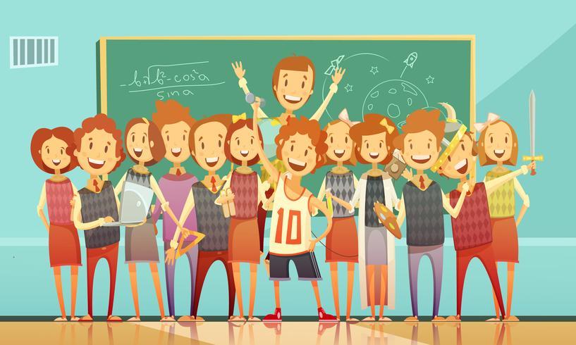 Traditionele School onderwijs Retro Cartoon Poster vector