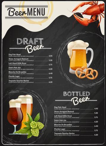 Menu de bière tableau vecteur