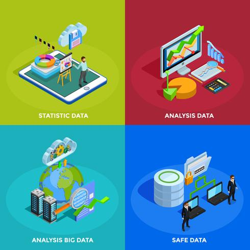 Data Analysis 4 Isometric Icons Square vector