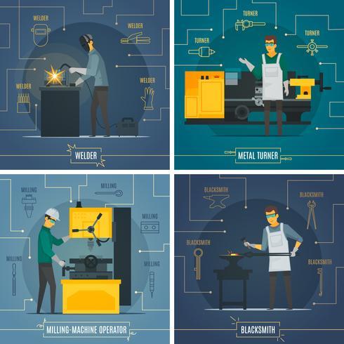 Infografía de metalurgia elementos 4 iconos planos