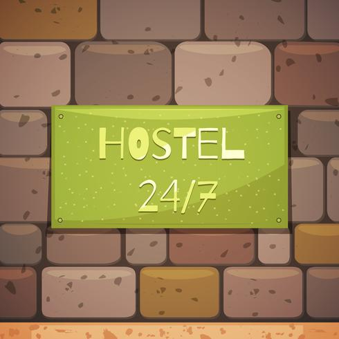 Hostel Signboard With Address On Brick Wall vector