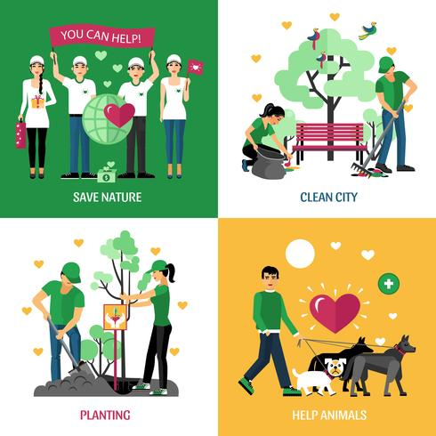 Voluntarios 2x2 Design Concept vector