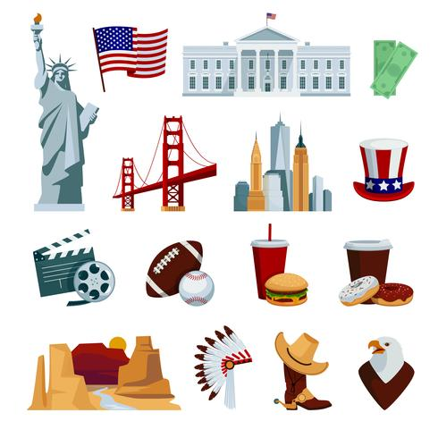 USA Flat Icons Set vector