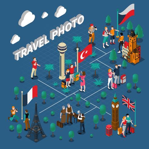 Turismo gente composición isométrica vector