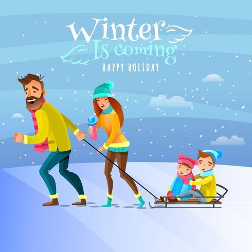 Familia en ilustración de temporada de invierno