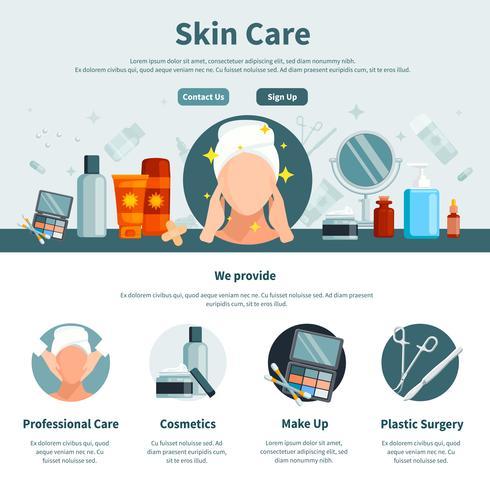 Cuidado de la piel una página plana vector