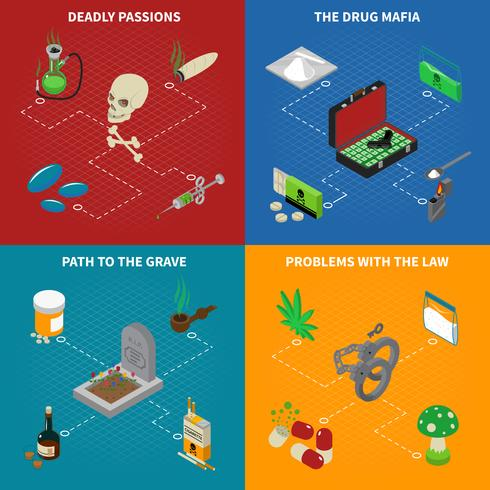 Conjunto de ícones de conceito de dependência de drogas