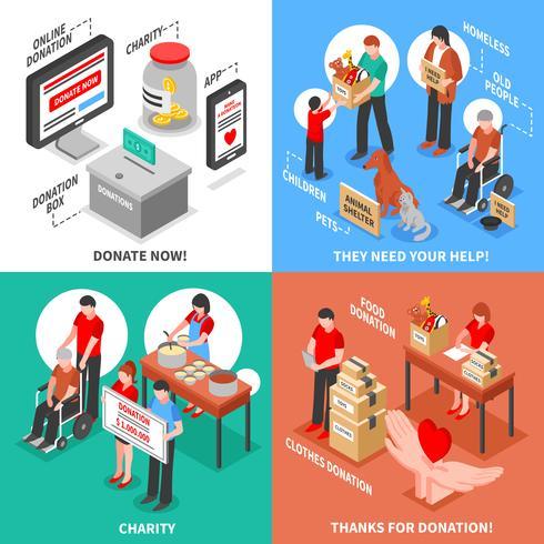 Charity Isometric 2x2 Design Concept vector