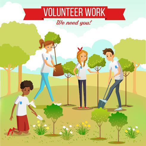 Plantación voluntaria de árboles en el parque vector