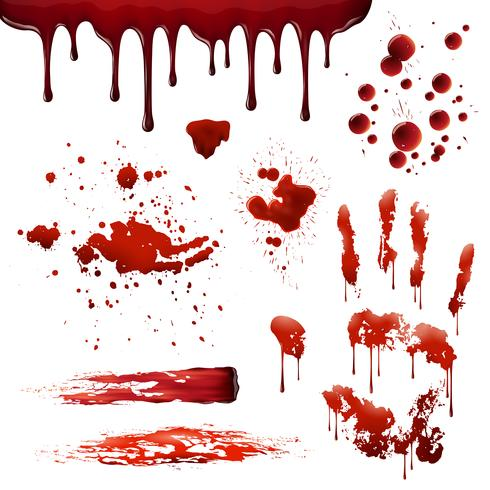 Blood Spatters Realistic Bloodstain Patterns Set  vector