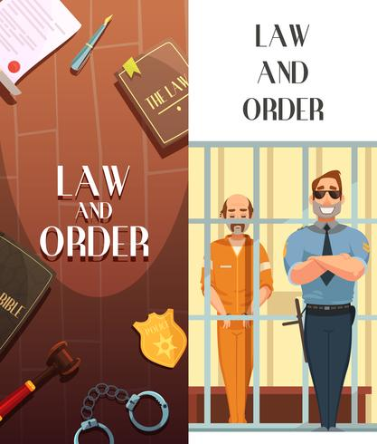 Law Order Justice 2 Cartoon Banners vettore