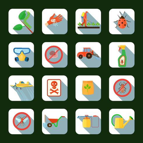 Pesticides Square Icons Set  vector