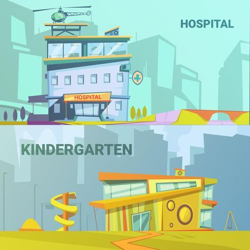 Hospital y jardín de infantes construyendo dibujos animados retro vector