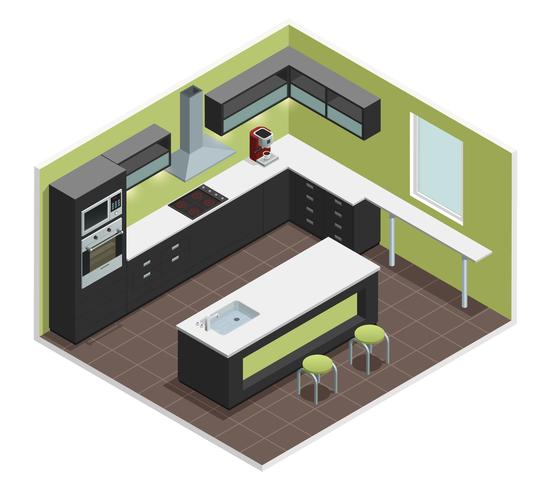 Imagen de vista isométrica de cocina moderna vector