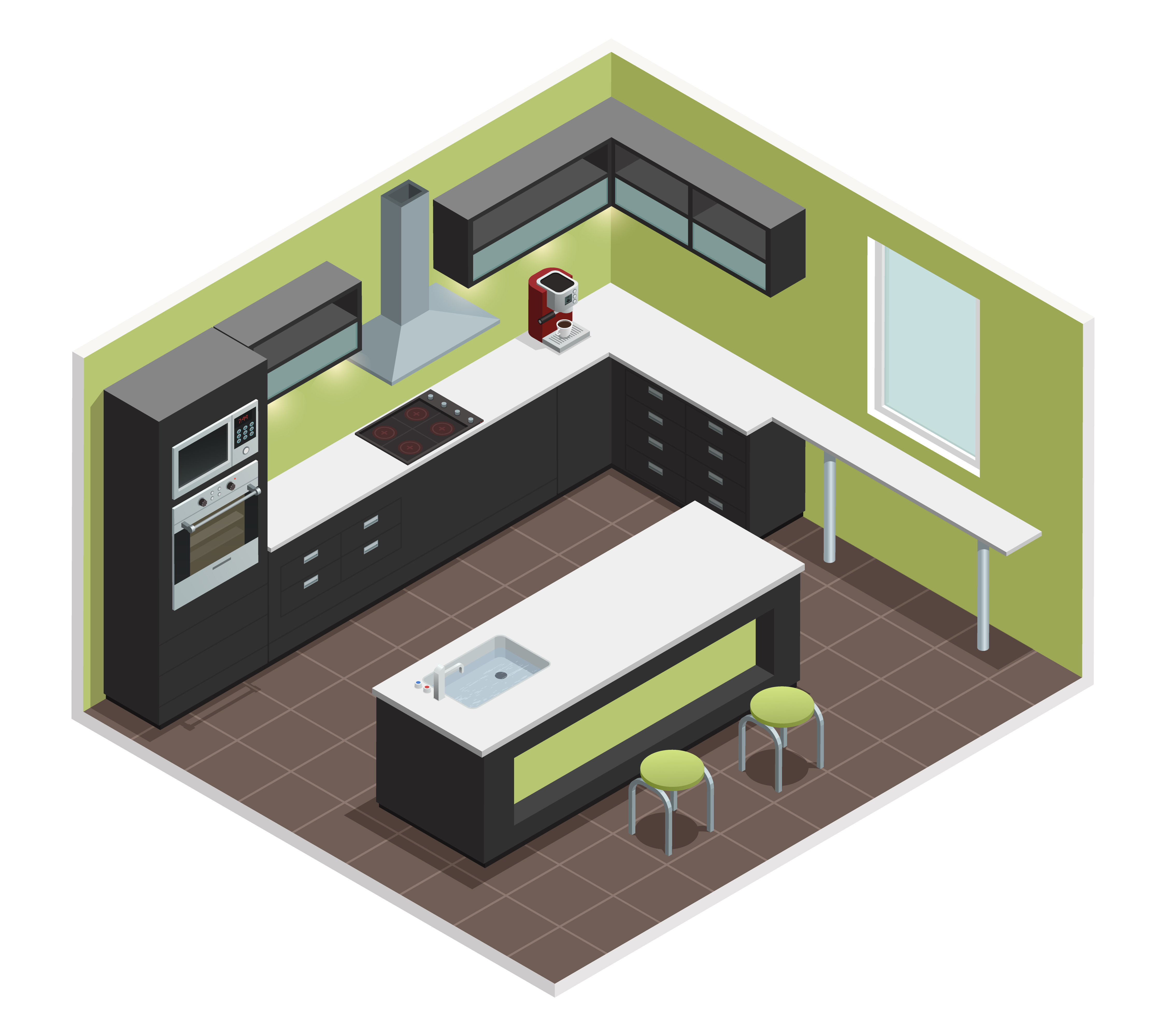 Modern Kitchen Isometric View Image Vector Download Free