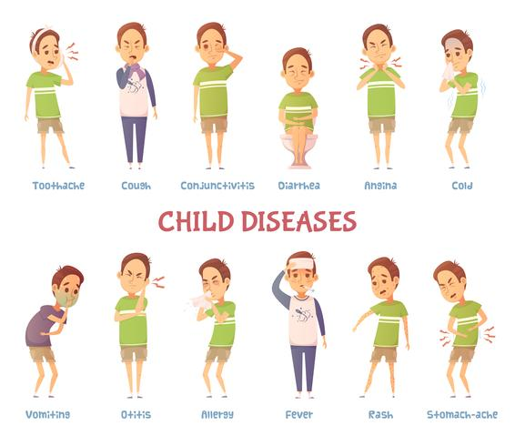 Conjunto de caracteres de doenças de criança vetor