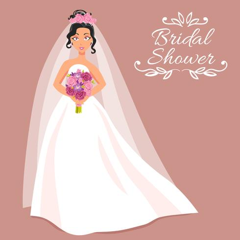 Novia en vestido blanco con el ramo vector