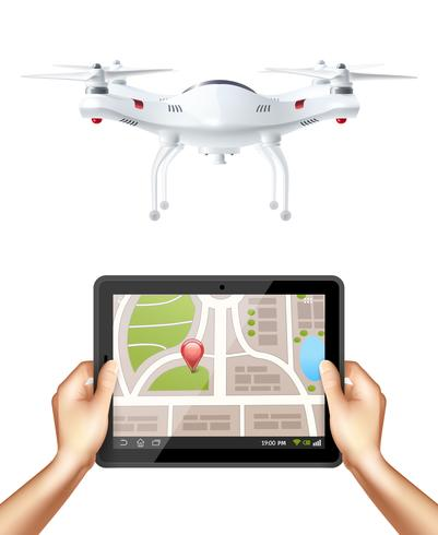 Quadrocopter och Hands Holding Tablet