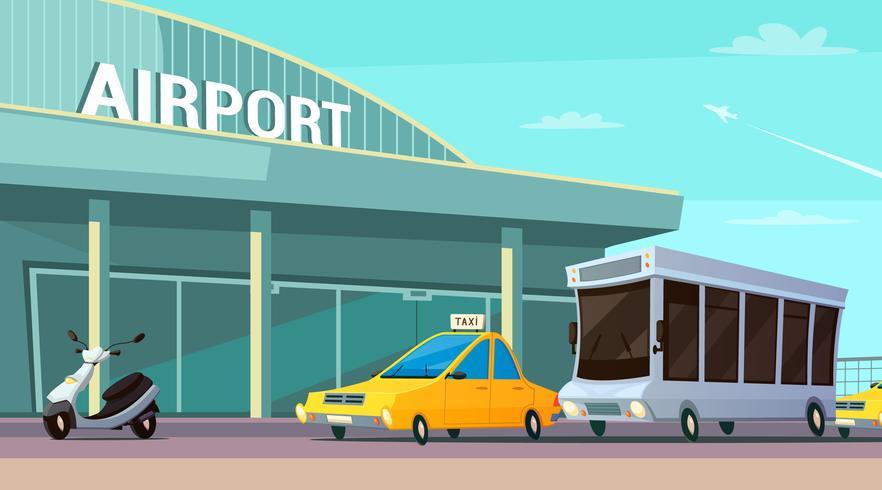 Composição de desenhos animados de transporte de cidade