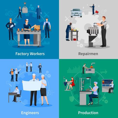 Trabajadores de Fábrica 2x2 Composiciones vector