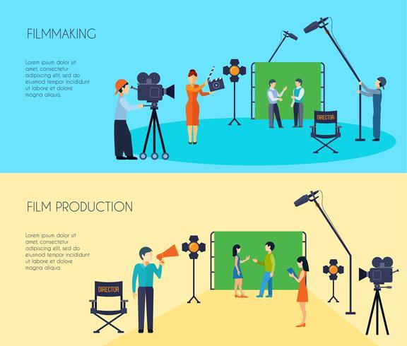 Processus de tournage 2 bannières horizontales plates