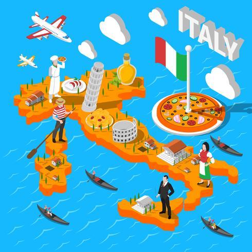 Italië isometrische Sightseeing-kaart voor toeristen