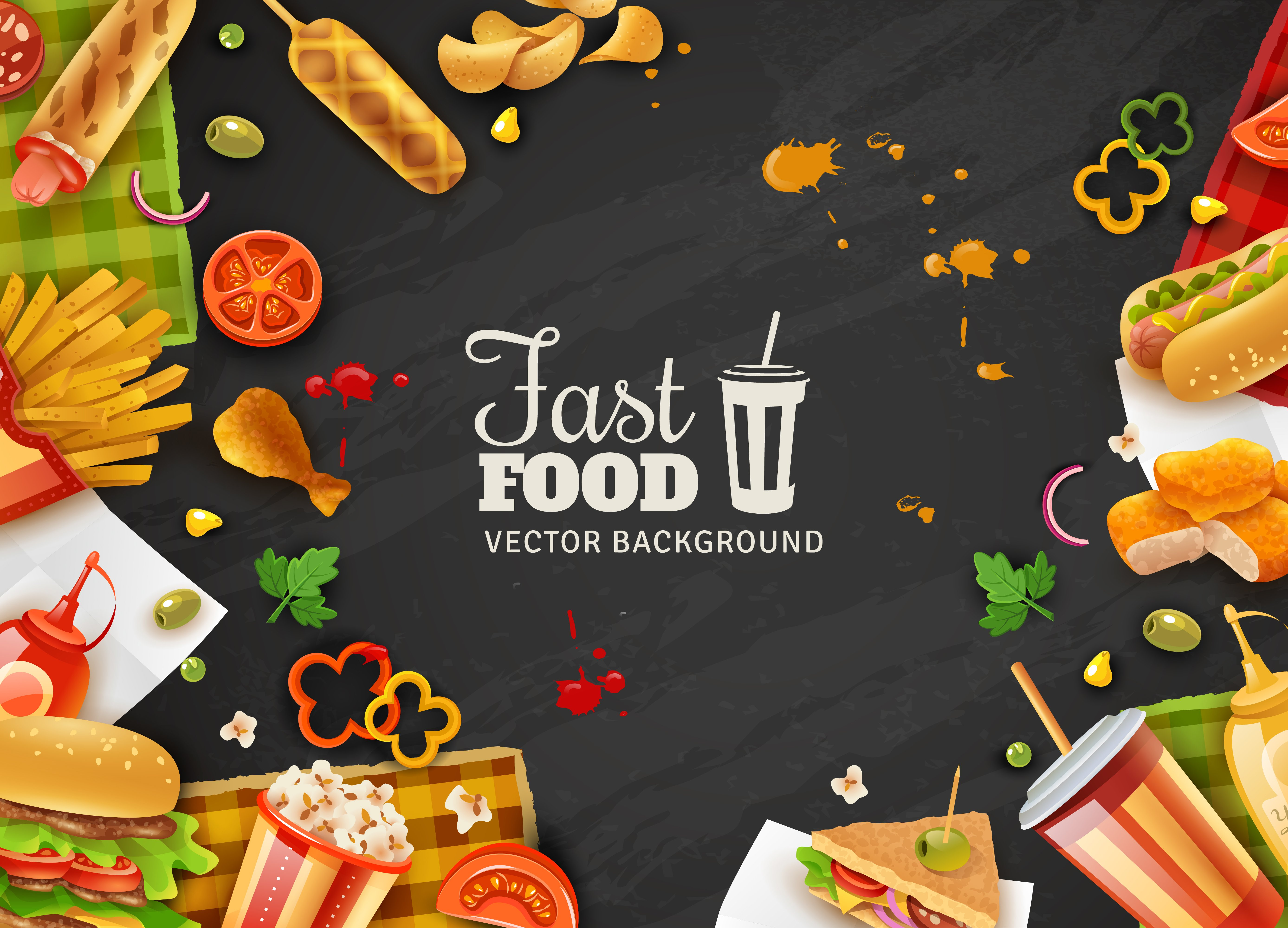 Colorful Food Wallpaper Free Download: Fast Food Black Background Poster