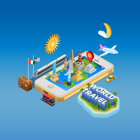 Reise- und Marksteinkonzept-Plakat