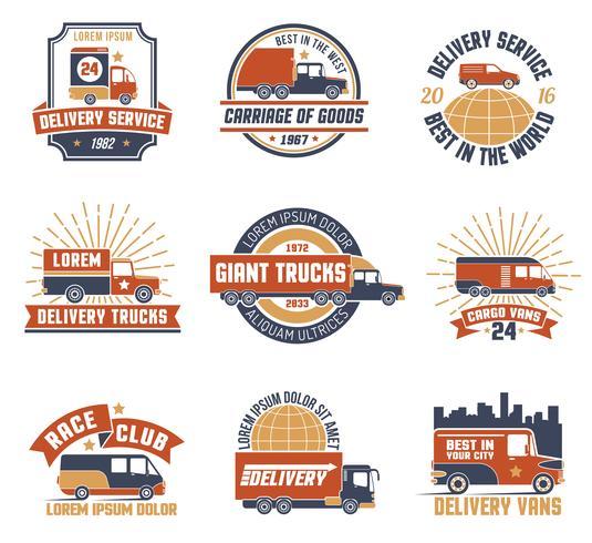 Logotipo de entrega Emblema Set vector
