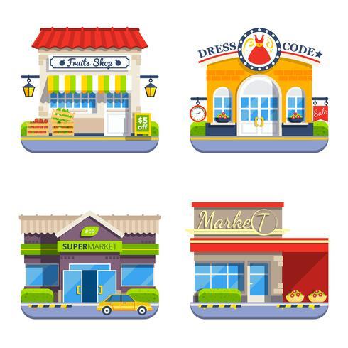 Coleção de ícones coloridos plana de loja vetor