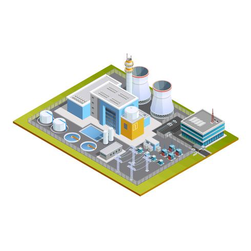 Image isométrique de la centrale nucléaire