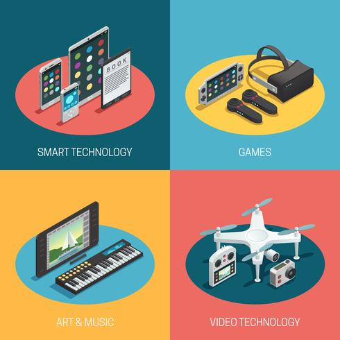 Gadgets isometrisches Design