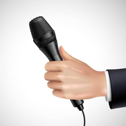 Hand With Microphone Realistic Detail Poster   vector