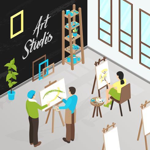 Ilustração isométrica de estúdio de arte