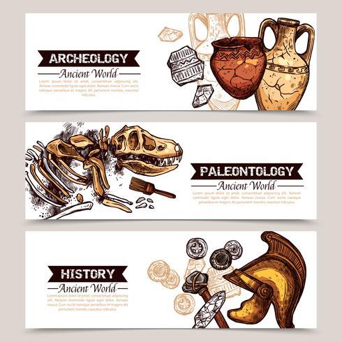 Bosquejo horizontal de arqueología Banners de colores vector