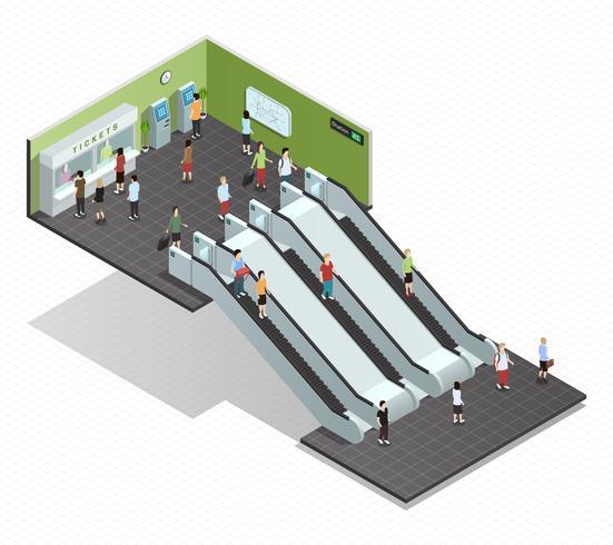Ilustração isométrica de metrô vetor