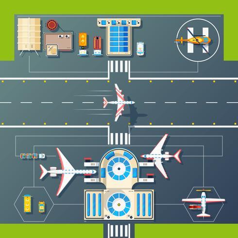 Luchthaven Runways Bovenaanzicht Flat Image vector