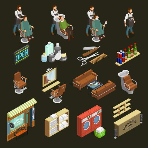 Conjunto de ícones do barbeiro vetor
