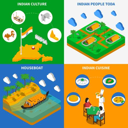 Indisk kultur 4 Isometrisk ikoner Square