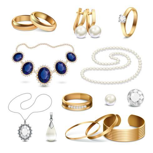 Conjunto de acessórios de jóias realista vetor