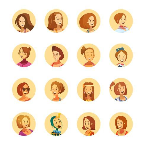 Woman Avatar Icons Cartoon Round