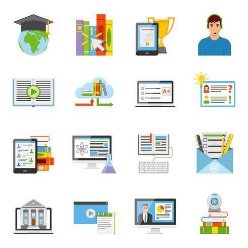 Set di icone piane di formazione online