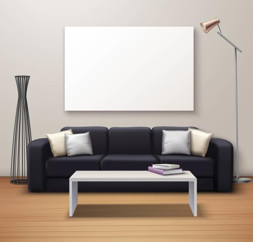 Modern interiör Mockup realistisk affisch vektor