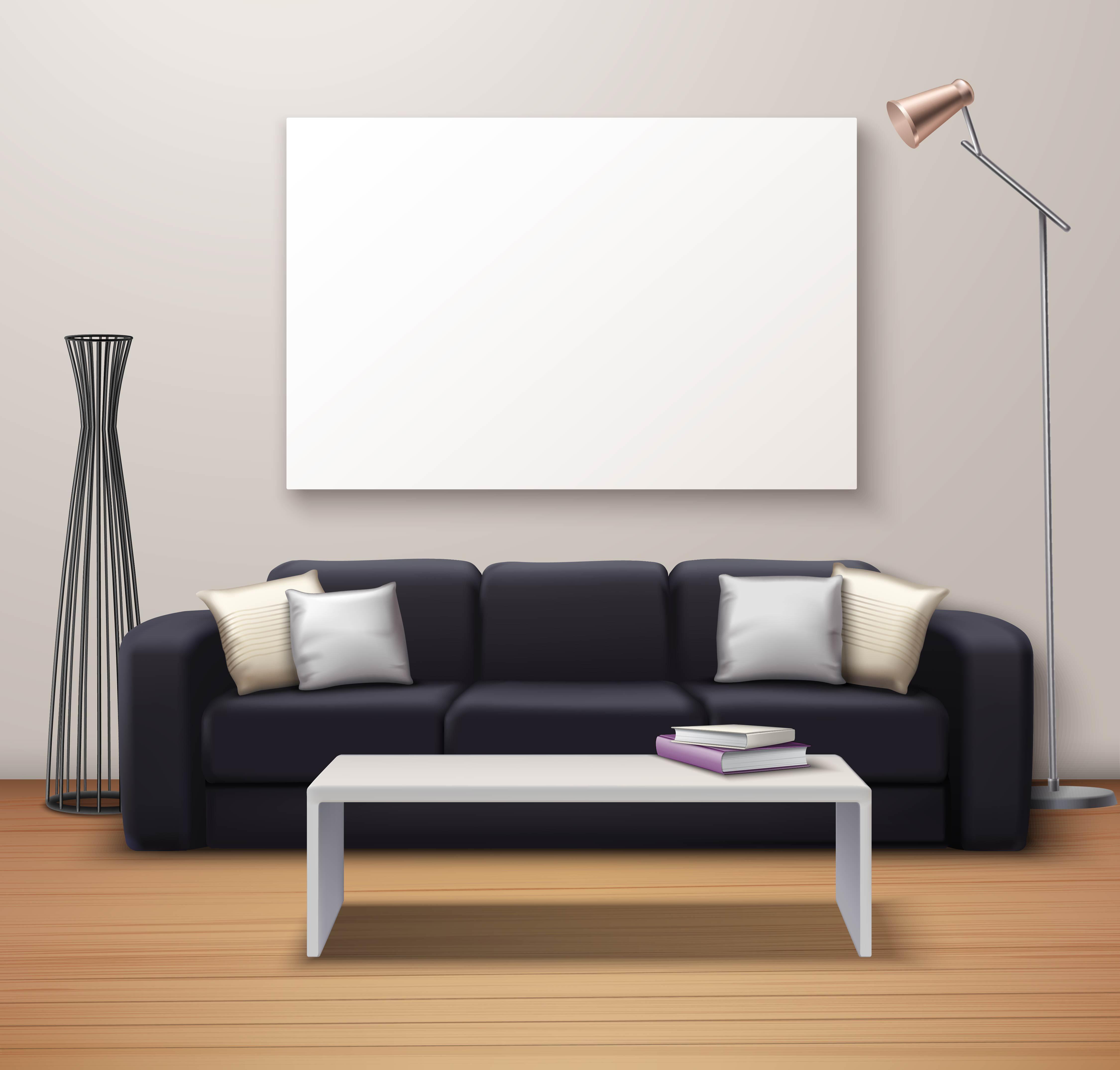 Modern Interior Mockup Realistic Poster