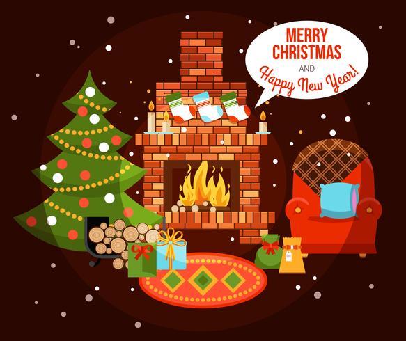 Christmas Holiday Fireplace Illustration vector