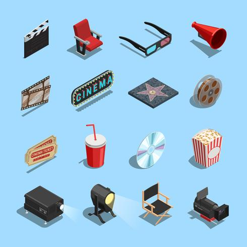 Cinema Movie Accessories Isometric Icons Collection  vector
