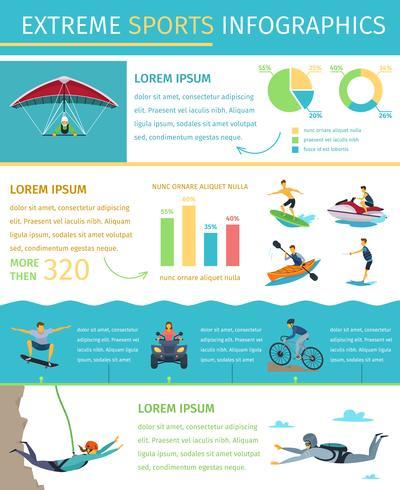 Affiche infographique plat de style de vie de sport extrême vecteur